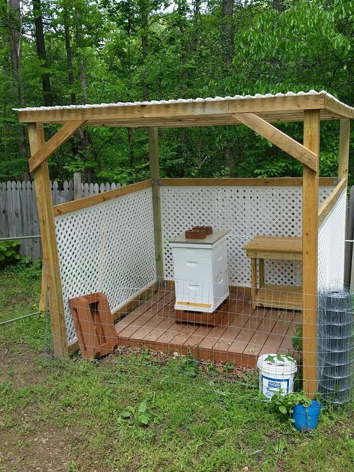 The beautiful Bee Hut and work table that my Hubs built