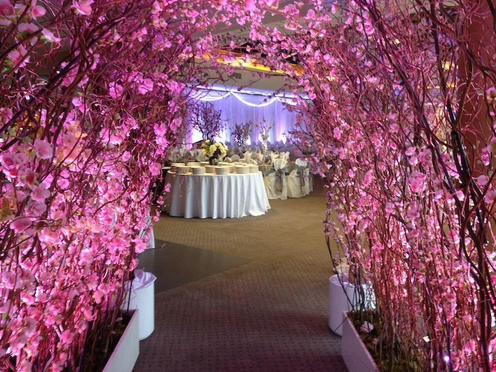 Wedding entry decoration ideas   romantic cherry blossom wedding ideas   Cherry blossoms