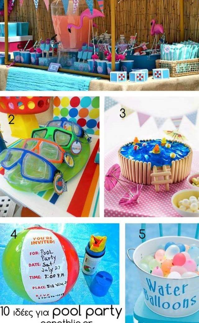 Kids Pool Party Ideas layout backyard 1 kid pool 2 medium pools 1 large pool spiral Cute Kids Pool Party Idea