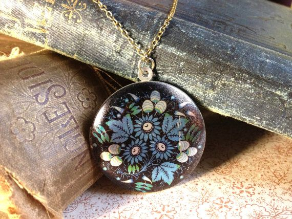 Colourful Locket Necklace - Folk Art Floral Pattern - SIlver Blue Flowers Necklace - Vintage European Fabric Pattern Necklace