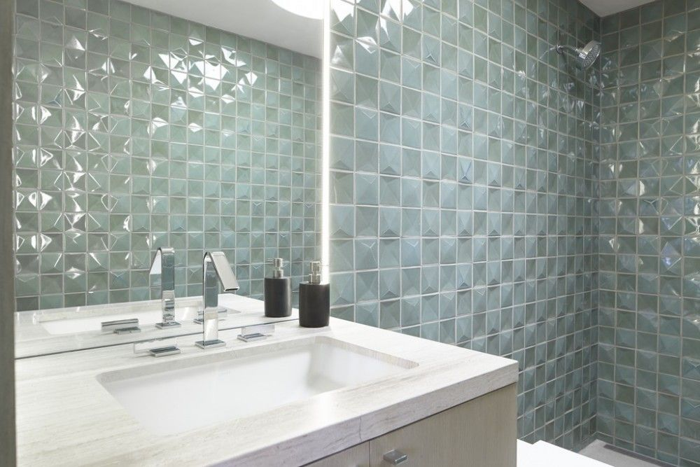Loure faucet Ladena sink Ann Sacks Clodagh Core tile Floor-to ...