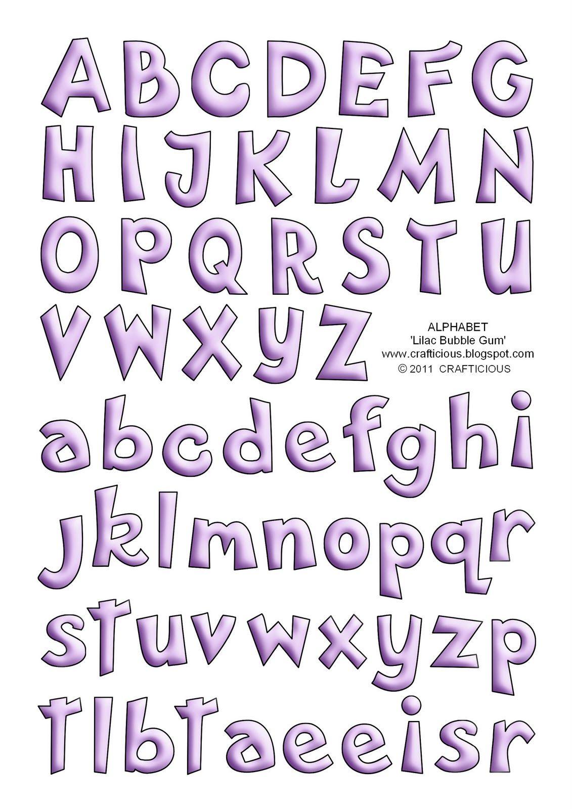 Alphabet Sheets 'Bubble Gum' Blue & Lilac Lettering