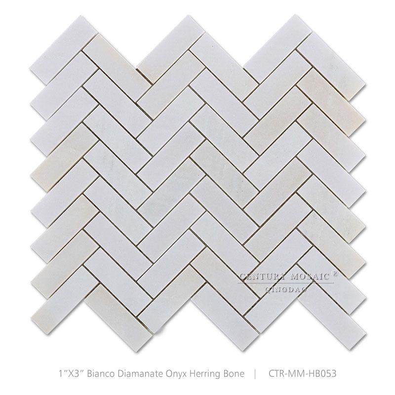 Chevrons De La Terrasse En Palette Europe: Bianco Diamante Onyx Poli Blanc Marbre Chevrons Mosaïque