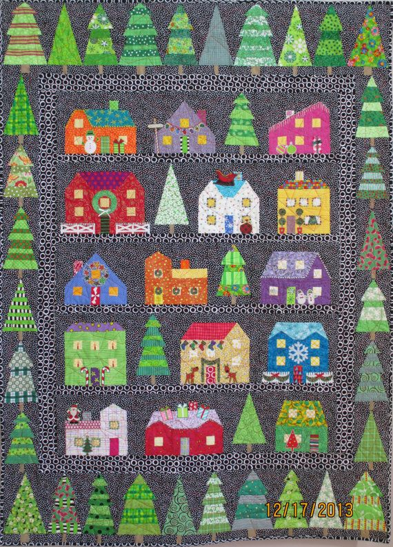 this is the tenth in my series of annual christmas card quilts that is quilts made to be featured as the art on my annual holiday card it features