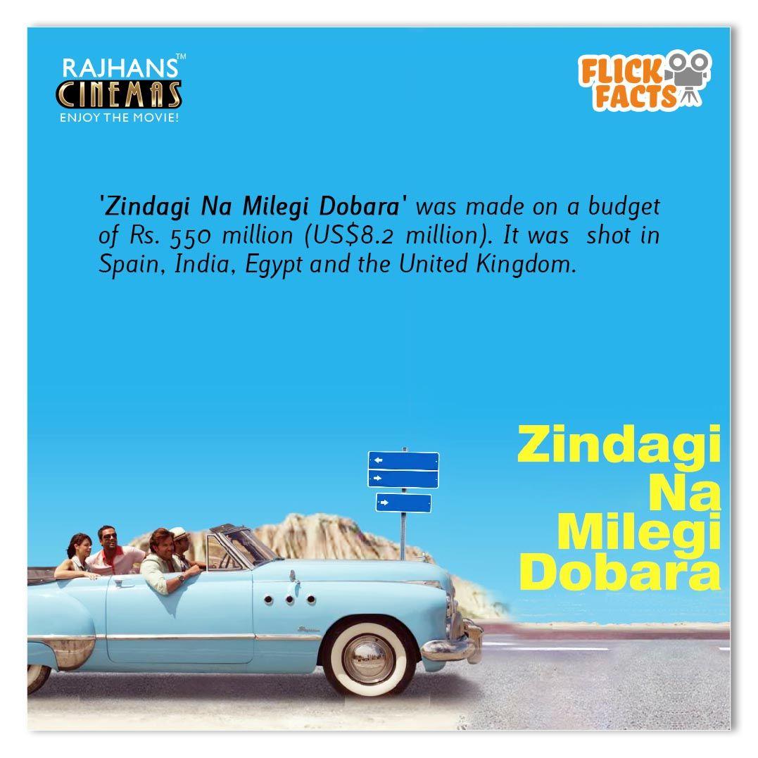 #FlickFacts 'Zindagi Na Milegi Dobara' was made on a budget of ₹550 million (US$8.2 million). It was shot in Spain, India, Egypt and the United Kingdom.