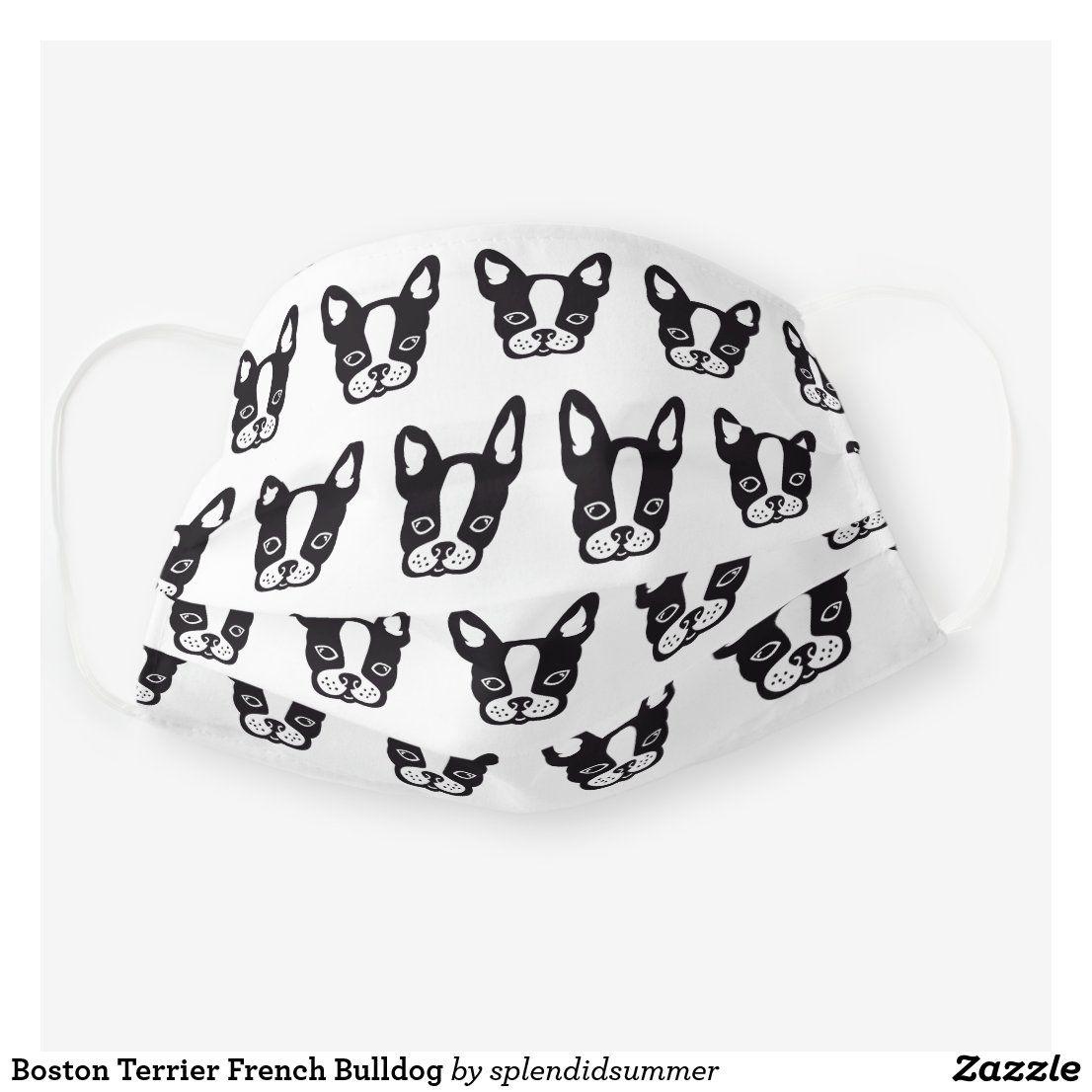 Boston Terrier French Bulldog Cloth Face Mask Zazzle Com In 2020 Face Mask Boston Terrier Bulldog