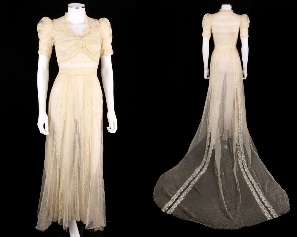 Vtg s ivory net lace cathedral train wedding dress gown sz xs
