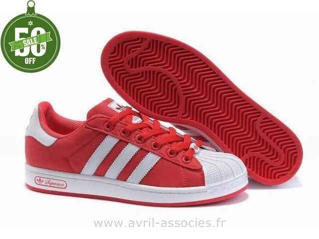 on sale f2bdb 8f2c0 Official Hommes Adidas Chaussures Superstar II Blanc Rouge (Chaussures  Adidas Montant Pas Cher)
