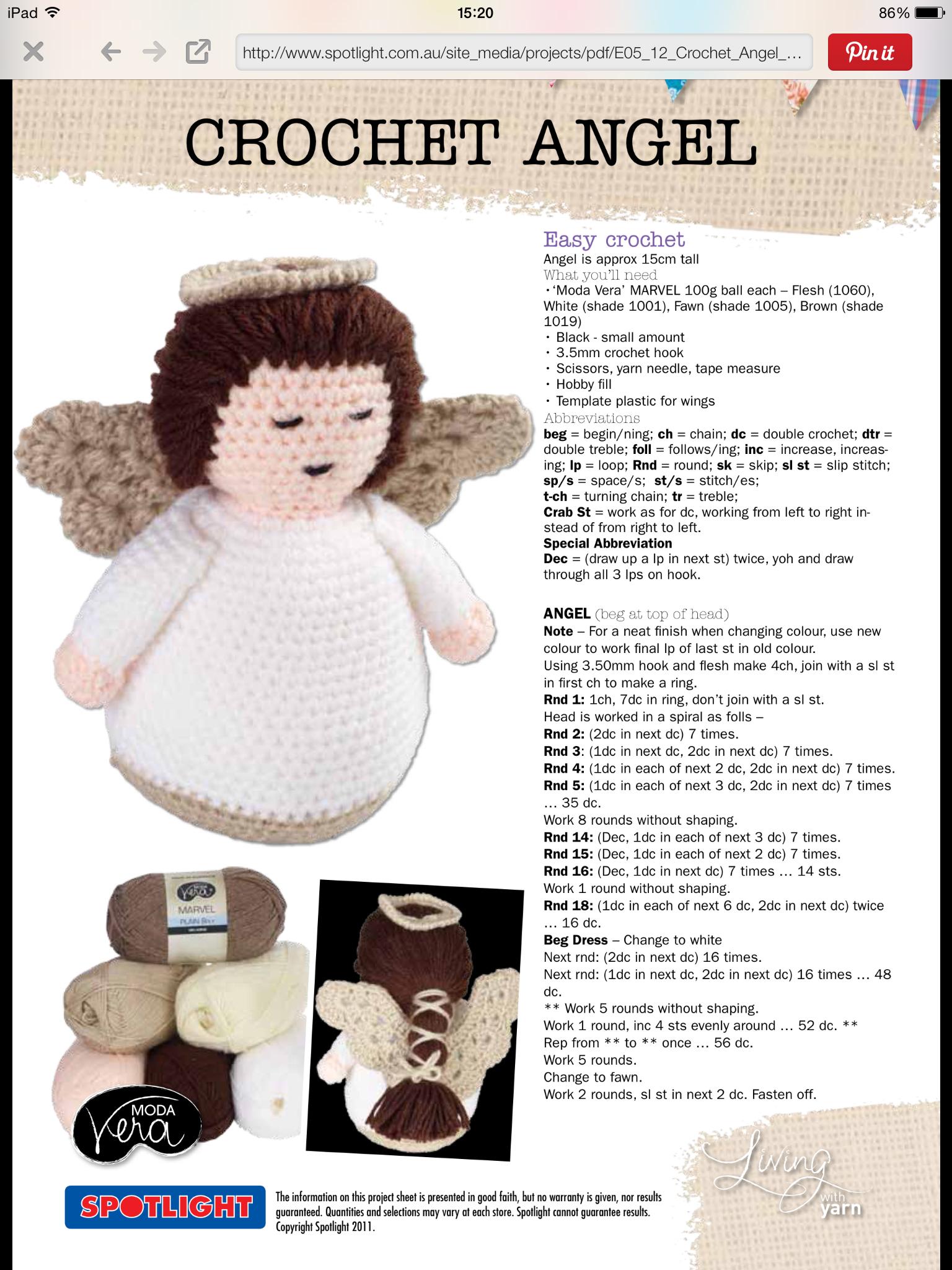Pin von Rhonda Raine auf Knit and Crochet | Pinterest | Engelchen ...