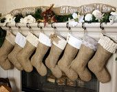 Set of Eight (8) Stockings - The Complete Classics - Burlap Stockings w/ White & Ivory Cuffs, Christmas Burlap Stockings