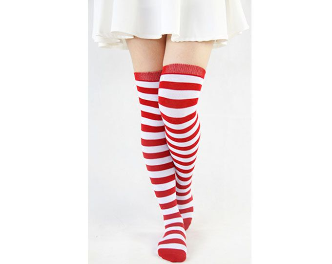 acb60431c Thigh High Socks With White and Red Stripe Plus Size Socks Boot Socks Long  Socks Knee Socks Womens Leg Warmers Christmas Gift 17121008 by GXJSocks on  Etsy