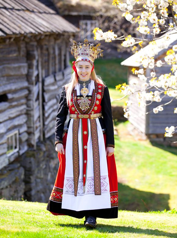 """Norwegian bride in Traditional 15th Century style called """"The ..."""