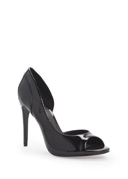 Lakierowane buty peep-toe z paskiem