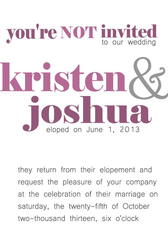 Lets Elope Elopement Announcement Wording A Lot Of PUNCH In This