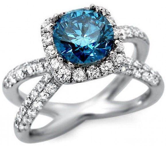 2.55ct Blue Round Diamond Split Shank Engagement Ring 18k White Gold