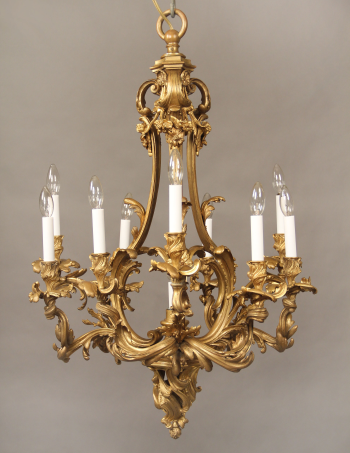 19th Century Gilt Bronze Ten Light Chandelier For Sale Charles Cheriff Galleries Antique Brass Chandelier Brass Chandelier Vintage Chandelier