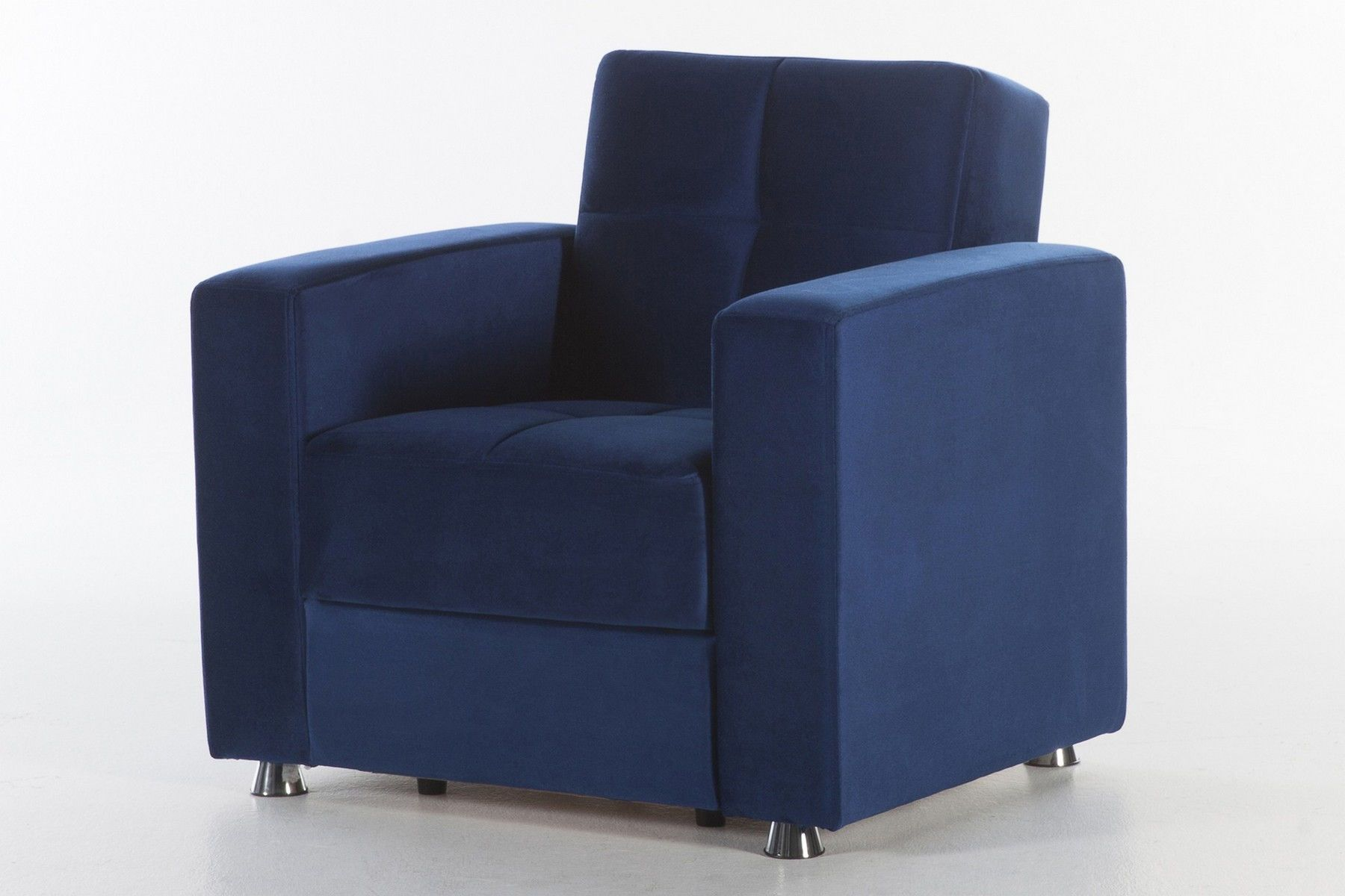 Best Istikbal Elegant Blue Microfiber Chair W Storage 400 x 300