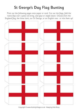St Georges Day Flag Bunting  British Values in KS1 KS2 and EYFS