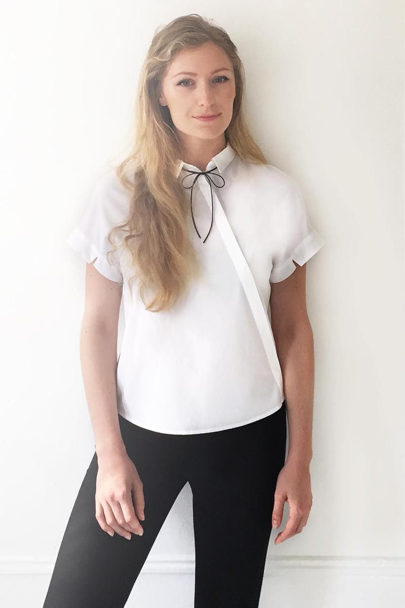White silk shirt and black trousers--work uniform. Why I Wear The Exact