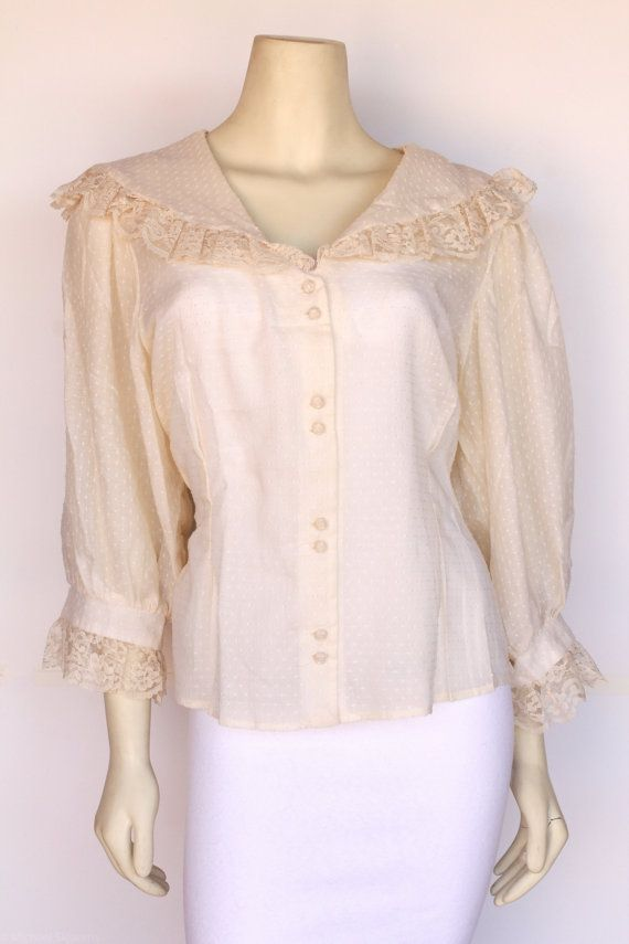 80s Vintage Cream Dotted Swiss Sheer Victorian by DanHalenVintage
