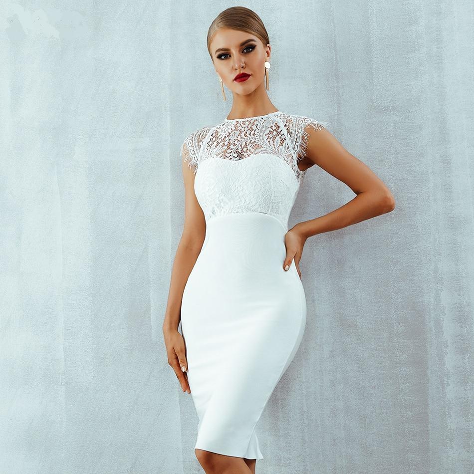 White Lace Short Sleeve Hollow Out Midi Bandage Dress Uniqistic Com White Bandage Dress White Bodycon Dress White Dress Party [ 950 x 950 Pixel ]