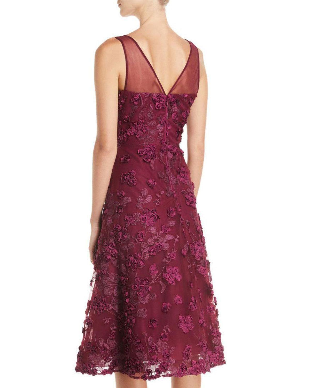 fb13a5f6c34e5 Rickie Freeman For Teri Jon Tulle Tea-Length Dress w/ Floral ...