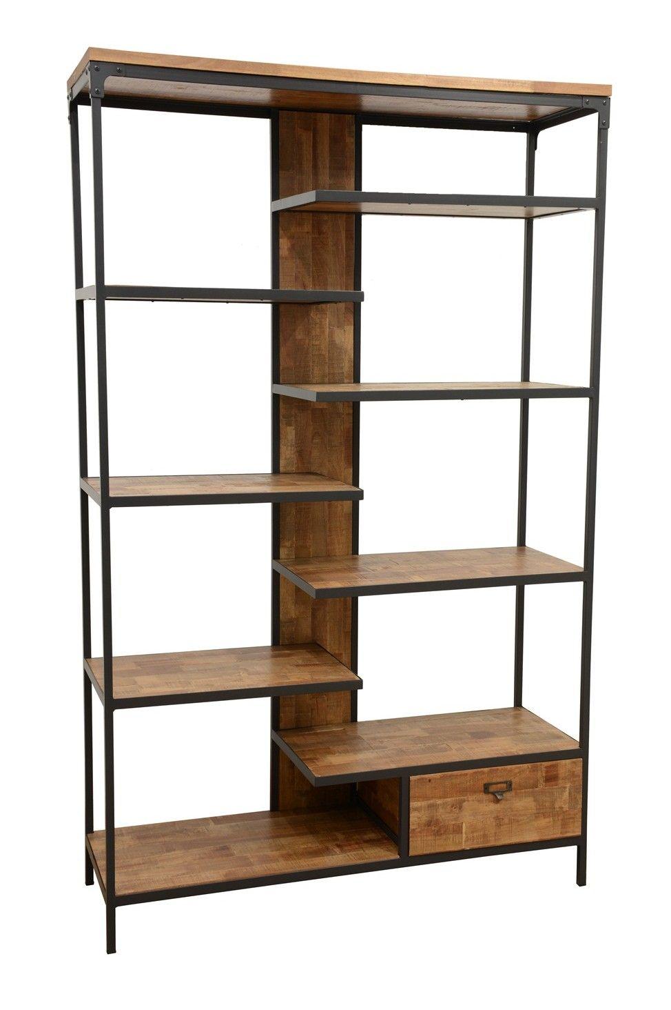 Bibliotheque 1 Tiroir 8 Etages En Quinconce En Hevea Recycle Naturel Et Metal 120x40x195cm Loft Etagere En Fer Etagere En Fer Forge Etagere