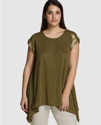 Para estrenar 0d944 0e962 Camiseta de mujer talla grande Couchel con picos laterales y ...