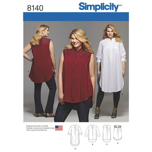Simplicity Pattern 8140 Plus Size Shirt with Length and Sleeve ...