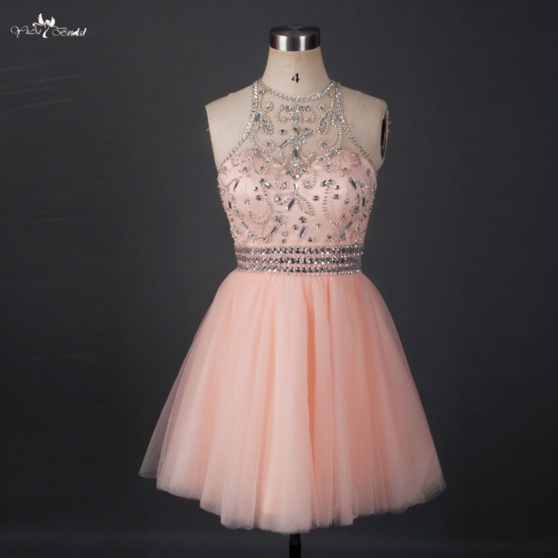 RSE663 Short Sparkly Homecoming Dresses Halter Neck Beaded Crystals ...