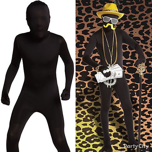 halloween costumes add accessories like a gold dollar sign necklace to this black morphsuit for a rich gangster - Morphsuits Halloween Costumes