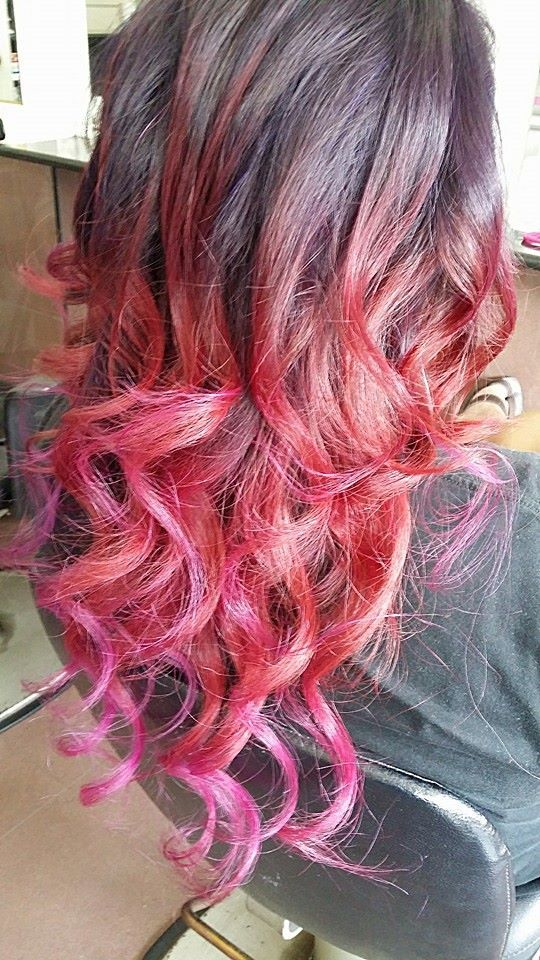 Purple Red And Pink Ombre Hair Color Hair Pinterest Hair