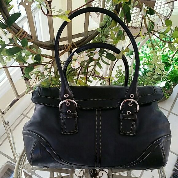 Coach satchel handbag Black, magnetic flap closure, inner back zip compartment, 2 cell pouches, metal feet, side snap expanders, double padded handles, tan topstitching,  adjustable silver tone buckle handles. Two tiny scuff marks on top flap trim, otherwise pristine condition. Tissue lined and stored in its original dust protector bag. Coach Bags Satchels