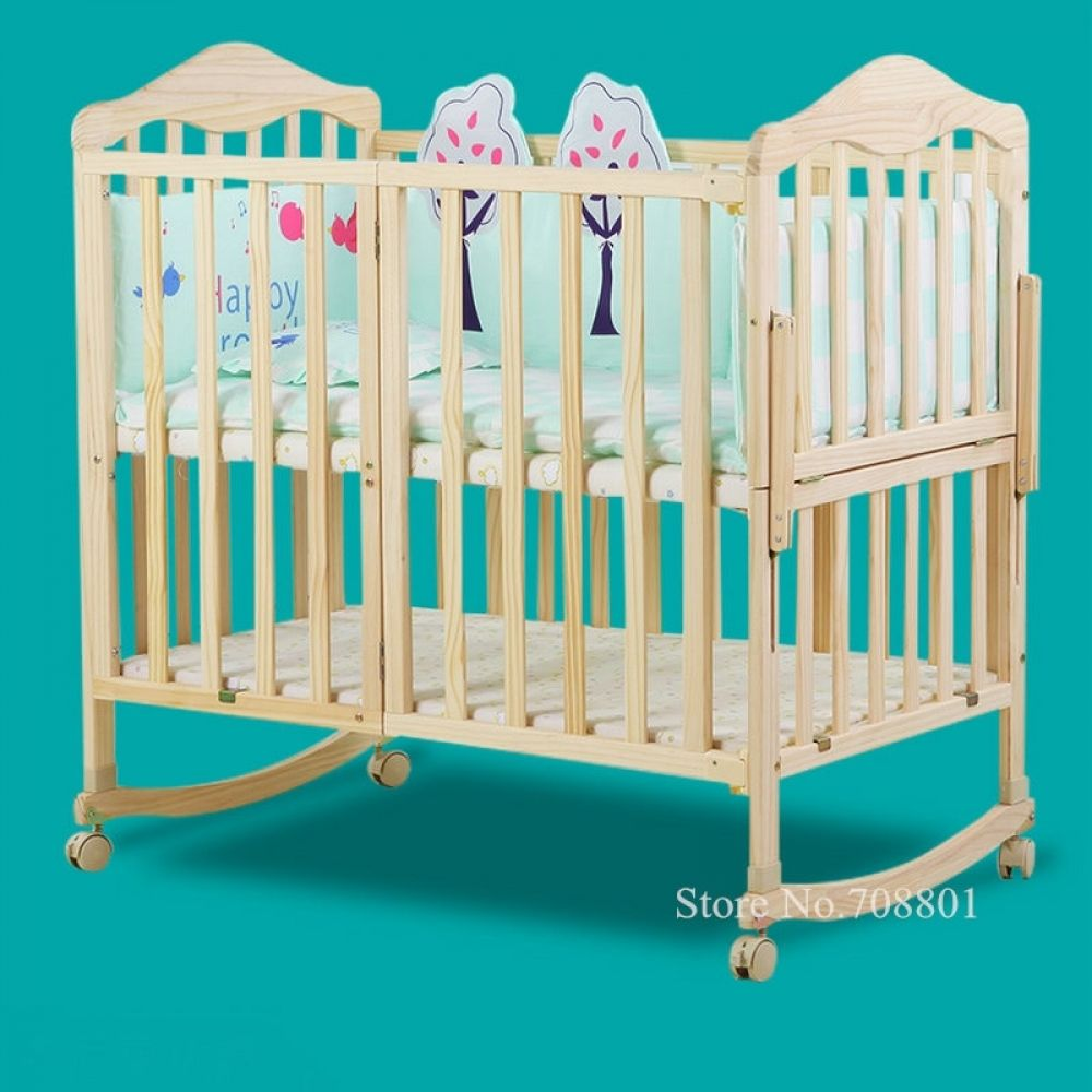 Pine Wood Baby Crib With 4 Wheels Half Combine With Adult Bed No