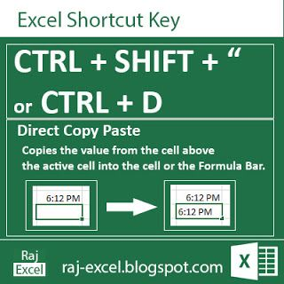 Raj Excel: Excel Short Cut Keys: Ctrl + Shift +