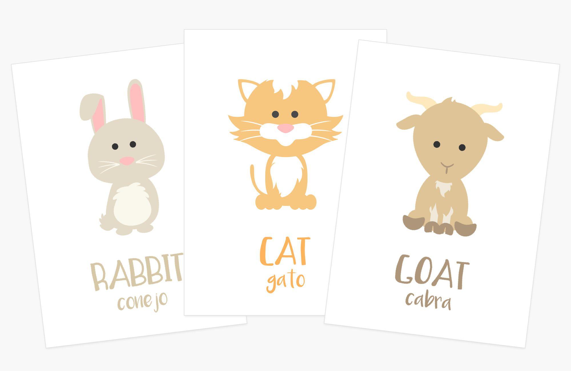 Spanish Farm Animal Flashcards Perfect For Education Or