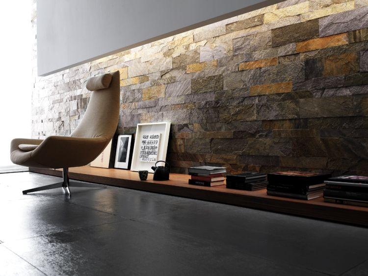 Verblendsteine Wohnzimmer Wanddeko Maxi Murales Gold Grau Artesia