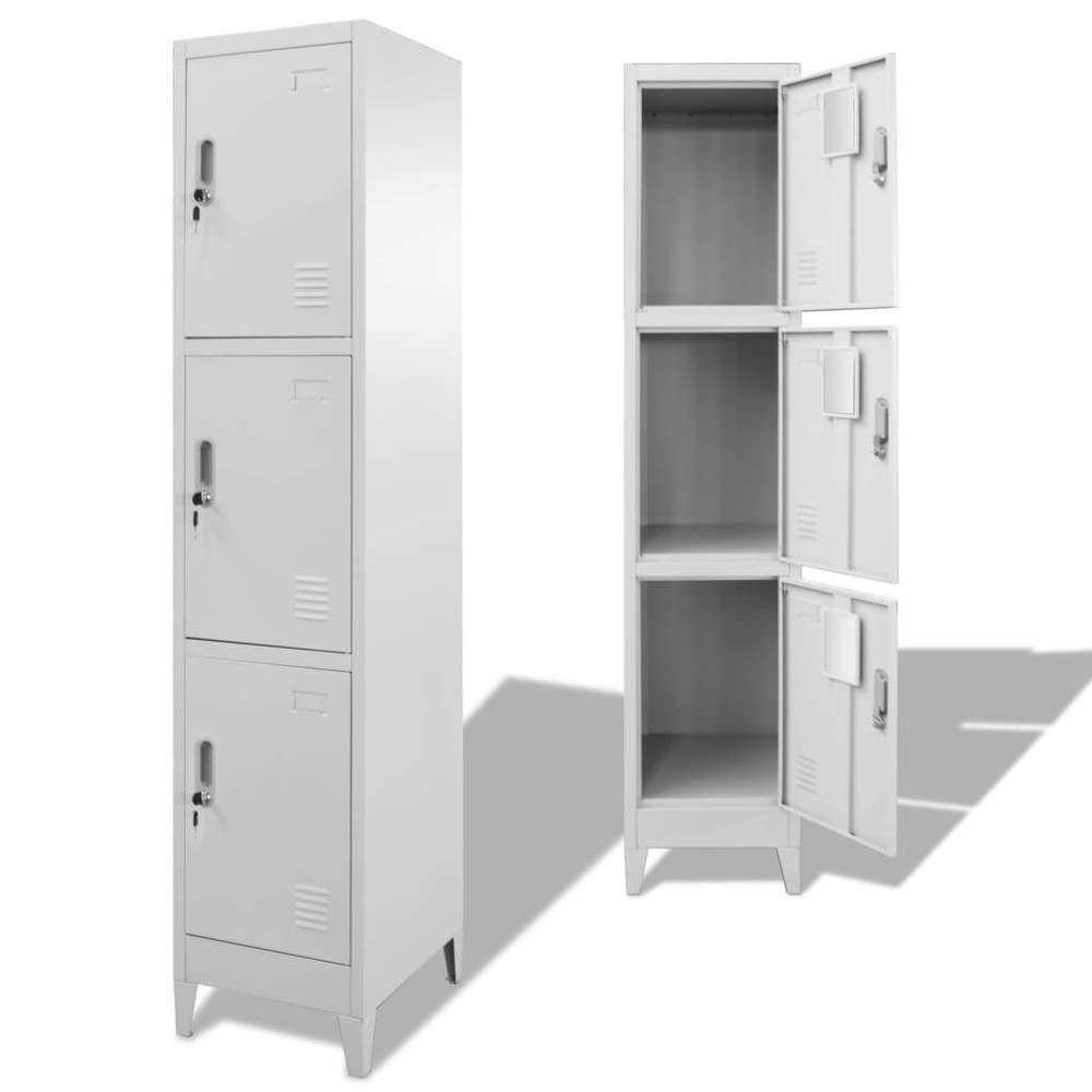 3 Compartments Locker Cabinet Steel Finish Storage Cabinets Lockers Furniture