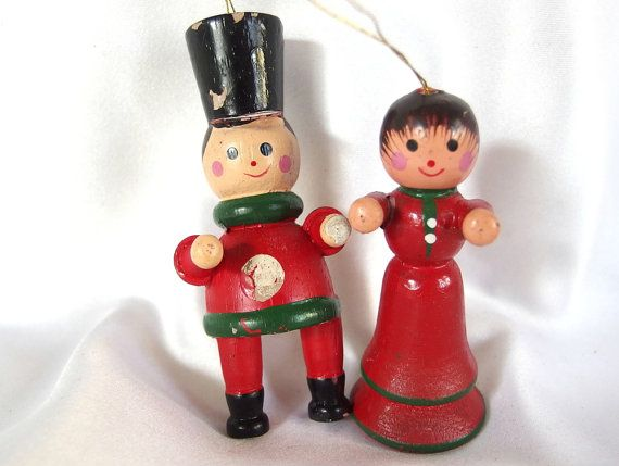 vintage christmas ornaments wood soldier and by bythewaysidexmas