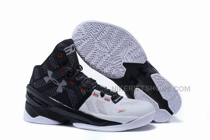 e558a964ab4 Under Armour Curry 2 black and white Red Suit   Tie Basketball Shoes ...