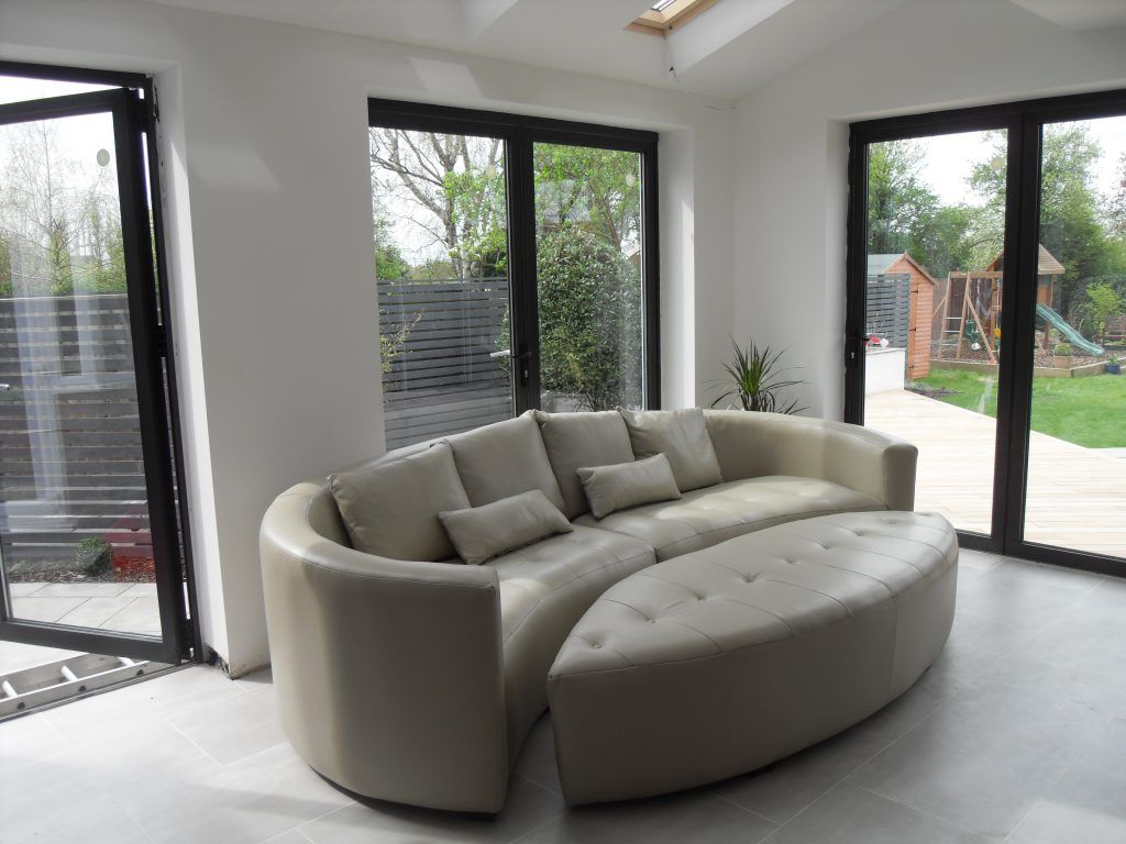 Marvelous Bespoke Curved Corner Sofa In Leather