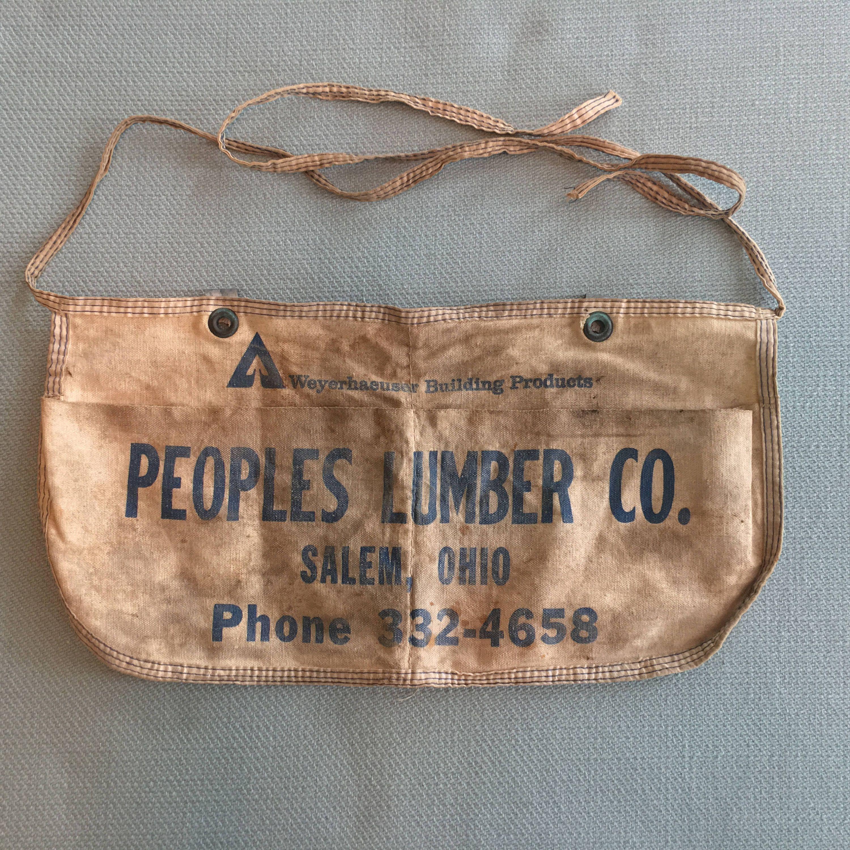 Vintage Canvas Carpenters Tool Pouch, Peoples Lumber Salem