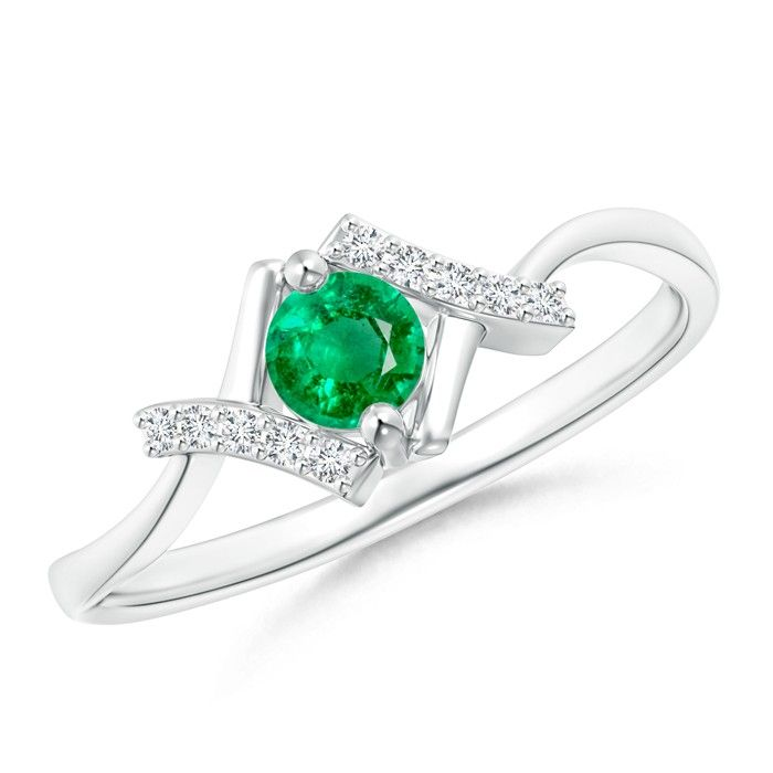 Angara Solitaire Emerald Bypass Promise Ring in 14K Rose Gold 7YLHJUQPdj