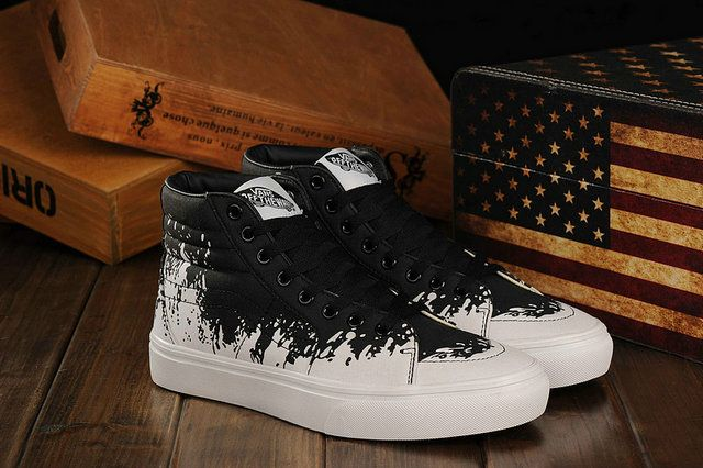 22e3eecc0e Vans Sk8 Hi Paint Stomp Colorways Off Black White the Wall Skateboard  Sneakers  S410298  -  39.99   Vans Shop