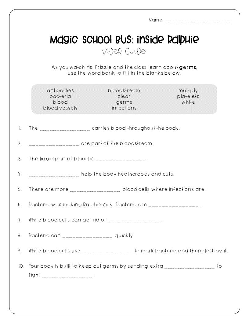 Free Germs Worksheet Magic School Magic School Bus Magic School Bus Episodes