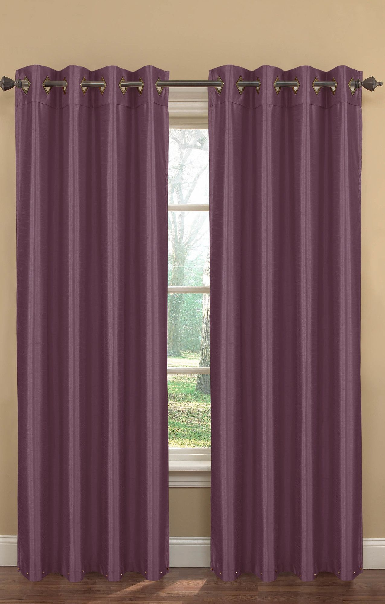 Kim Faux Silk Extra Wide Grommet Curtain Panel Set Of 2 Panel Curtains Curtains Grommet Curtains