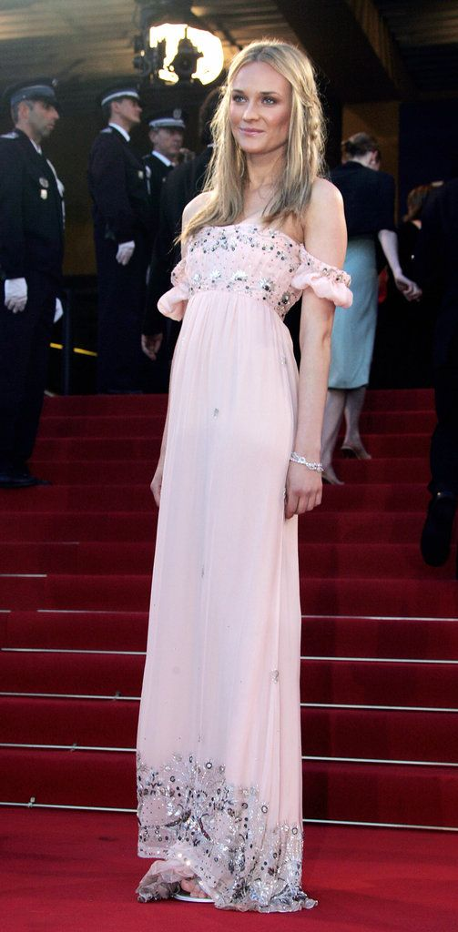 25c3da2c26cef Diane went for bohemian goddess in this light-pink off-the-shoulder Roberto  Cavalli number at the 2005 Cannes Film Festival.