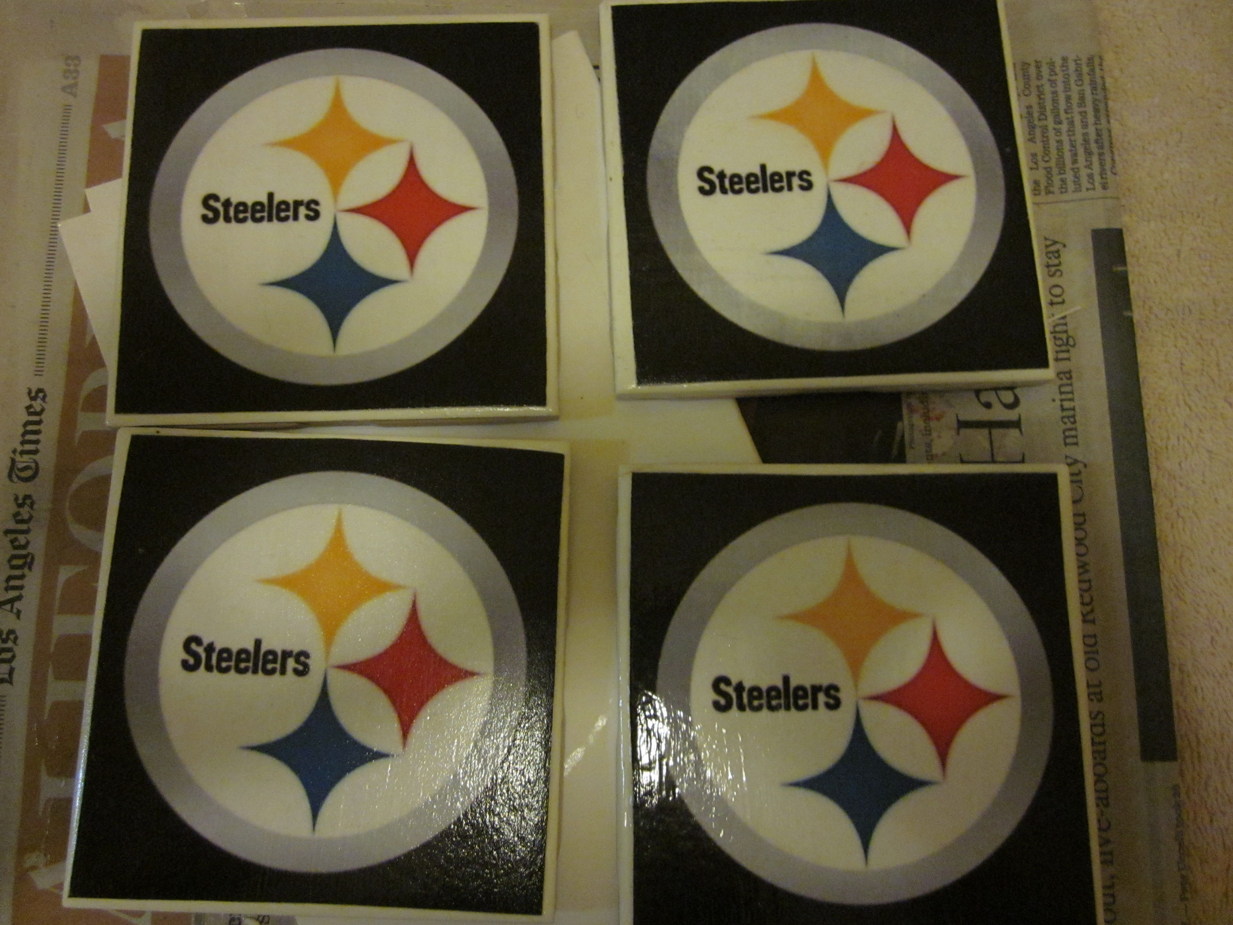Steelers coasters made from ceramic tile steeler logo print out steelers coasters made from ceramic tile steeler logo print out modge clear coat doublecrazyfo Gallery