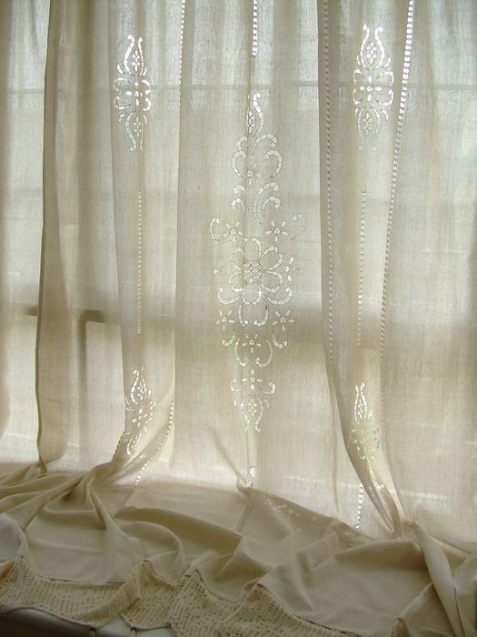 Tab Top French Country Cotton Linen Crochet Lace Curtain Panel 008