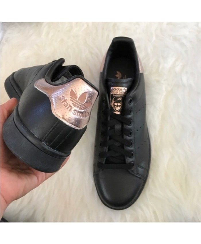 Adidas Stan Smith Rose Gold Black Trainers | Adidas shoes stan ...
